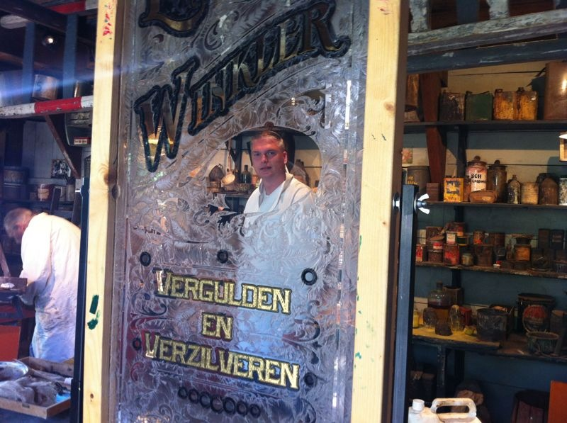 Gilding demonstration in Painting Museum Enkhuizen