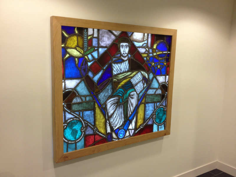 Stained glass in oak frame with led lights