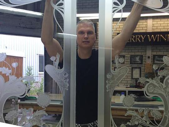 Art nouveau glas etsen met zuur