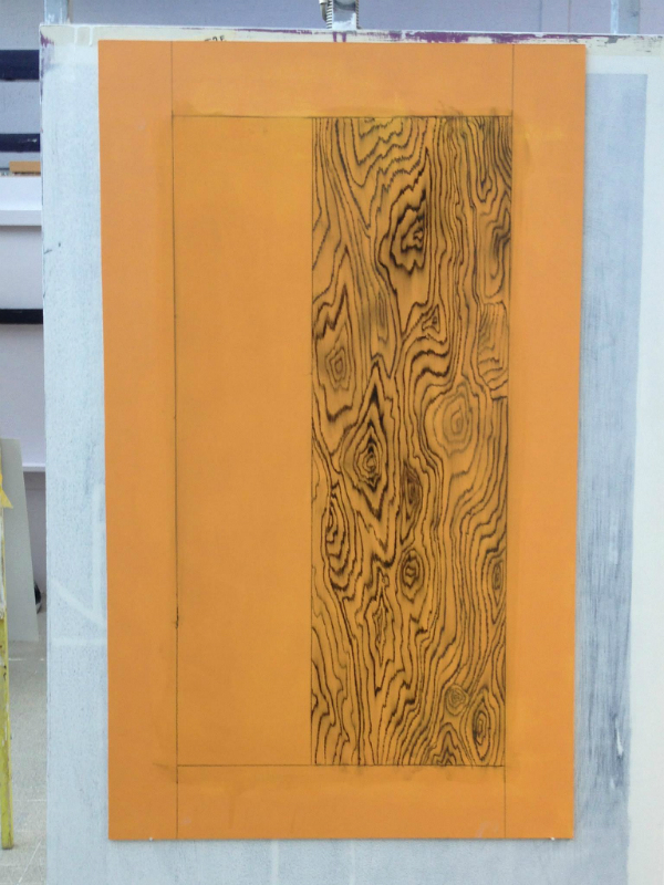 Wood imitation painting of Palisander wood