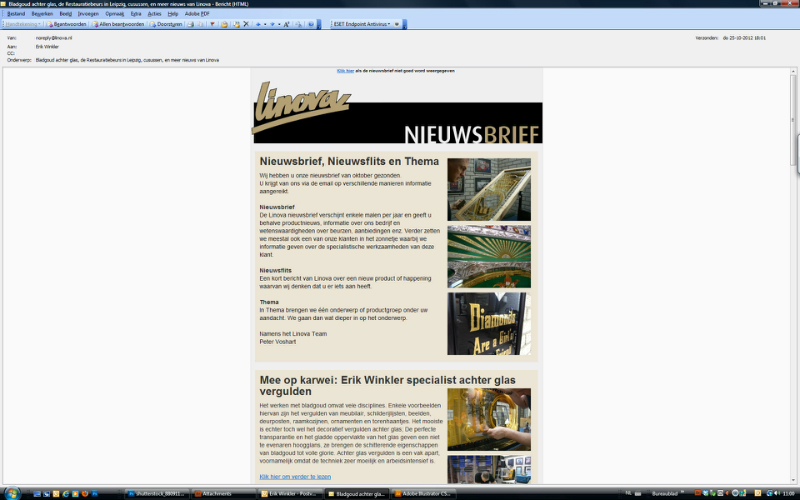 Holland's largest goldleaf supplier Linova writes about Schitterend