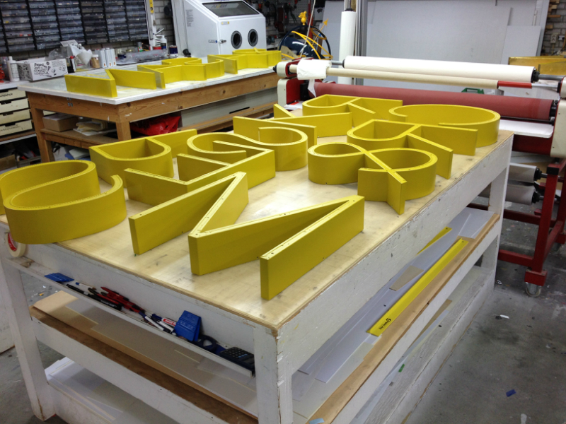 Gilding box letters for Marks & Spencer