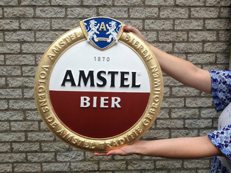 Gilded 3D sign for famous Dutch beer brand