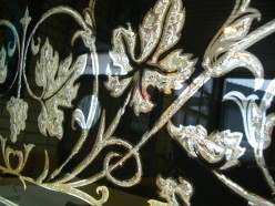 Decorative silvered glass