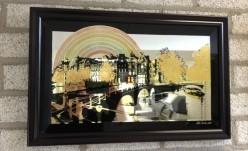 Verre eglomise van kunstwerk 'Amsterdam'
